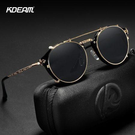 retro steampunk round clip on sunglasses
