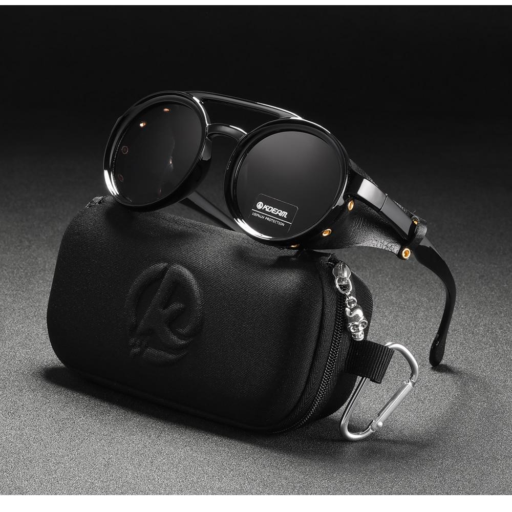 Vintage Round Sunglasses  Leather Shield